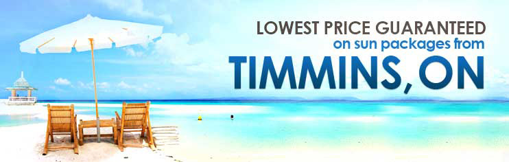 Lowest price guaranteed on sun packages from Timmins, ON