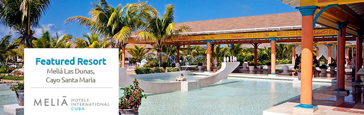 Sign up for a chance to WIN a vacation for 2 at the Melia Las Dunas in Cayo Santa Maria, Cuba