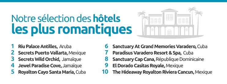 Nos meilleurs hôtels romantiques